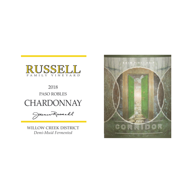 12 fl. Chardonnay, Paso Robles, Russell, 2018 + 12 fl. Pinot Noir, The Corridor, Authentique, 2018