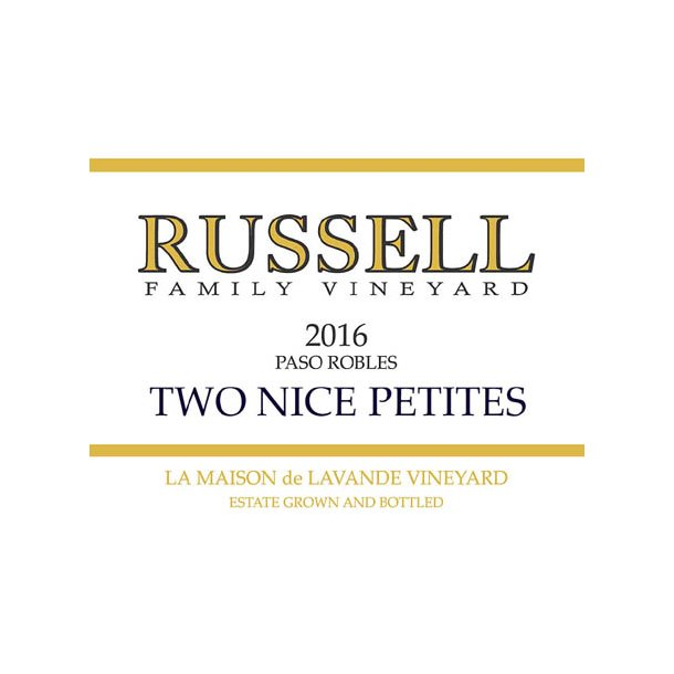 Two Nice Petits, Paso Robles, Russell, 2016